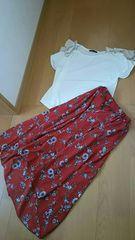 Heather肩リボンTシャツ×サラサラ秋色ブラウンレッド花柄マキシロングスカート2点♯コーデ
