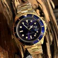 最安値ロレックス・サブマリーナタイプ◇クォーツ メタル腕時計ネイビー×ゴールド