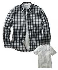6Lサイズ高貴紳士的!濃紺チェック!長袖シャツ!and半袖!白Tシャツ!セット!新品!