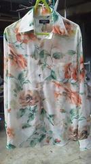 トルネードマート花柄シースルーラメシャツ