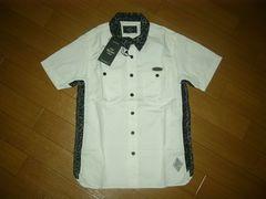 新品クライミーCRIMIE半袖ワークシャツS白黒レオパード柄切替