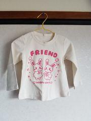 白にピンクのうさぎもようの長袖Tシャツ90