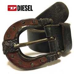 DIESEL ディーゼル 馬蹄 レザーベルト 本革 D12