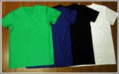 透かし柄♪Vネックシャツ4色組 7LB