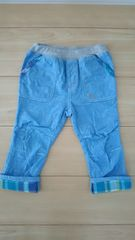 ラキエーベ キムラタン 長ズボン デニムパンツ ライトブルー サイズ95 裾チェック柄