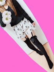 スナイデル♪ちゅるさらお花柄キュロットスカート♪モノトーン