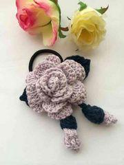 ハンドメイド ヘアゴム 薔薇と蕾♪♪ アナスイ好き ガーリー 紫
