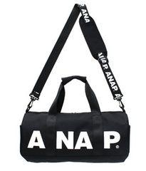 新品ANAP★ロゴ 2WAY ドラム ボストンバッグ 黒 アナップ