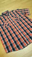 ROCAWEARデザインチェック半袖シャツ オレンジ サイズXXXL→2XL位 �B