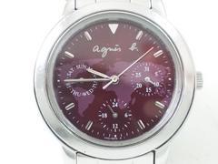 7408/アニエスb稀少な世界地図ダイヤルレッドカラーメンズ腕時計格安