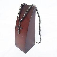 ヘマタイト マグネチック 磁石 クロス 十字架 ネックレス 1238