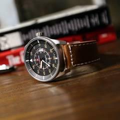 ■■新品♪NAVIFORCEクロノグラフ腕時計★ビックフェイスレザー2