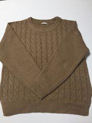ざっくり編みニットセーター☆縦ライン着痩せ☆柔らか袖切り替え