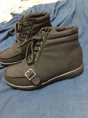 インヒール 新品 ブラック シューズ ブーツ L 24くらい