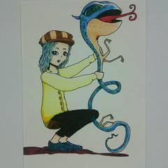 手描きイラストヘビ蛇オリジナルイラスト自作カラー絵ハンドメイドアナログ原画コピックアート