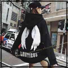 《新》〜3L【大きいサイズ】羽翼バクプリ&裏起毛☆セミロング丈パーカー