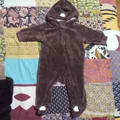 baby西松屋クマさん モコモコ 靴下付きカバーオール 60〜70�p