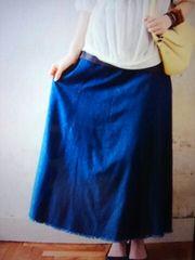 *フレアーデニムスカート*新品 M ブルー
