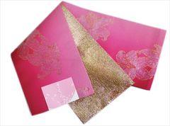 浴衣ゆかた&袴に グラデーションぼかし半巾帯半幅帯濃ピンクラメゆり