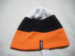 mb773 男 RIP CURLリップカール ニット帽 裏フリース 橙黒白