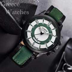 腕時計 ギリシャ文字 ツートン アナログ 時計 レザー グリーン