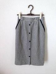 レトロ モノトーン 千鳥格子 ウール ロング スカート