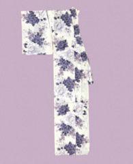 ユカタ浴衣白地に暗紫の花美品