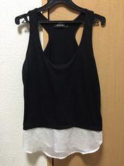新品100スタ!ギルフィー白黒モノトーン裾シフォンフレアタンクF