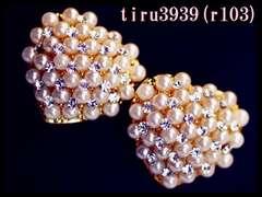 r103/18KRGPゴールド/小粒パールハートスタッドピアス