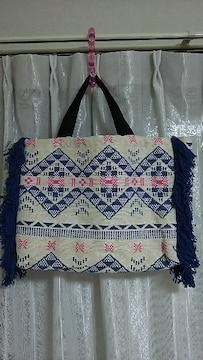 新品 インド製 ラメ刺繍 トート バッグ◎ チチカカ マライカ  チャイハネ 好き A4サイズ