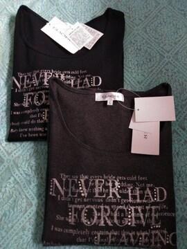 新品レディースLサイズGLACIER八分袖プリントロングTシャツ黒と杢チャコール2点