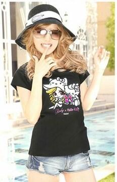 Rady☆ぴずちゃん×キティちゃん☆コラボTシャツ☆ブラック☆新品タグ付
