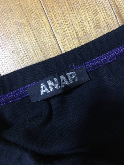 【ANAP】難あり★ロゴベアトップ★黒×紫F < ブランドの