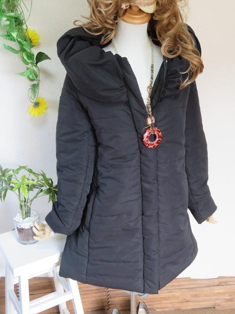 新作◆大きいサイズ4Lブラック◆ボリューム襟◆中綿ロングコート < 女性ファッションの