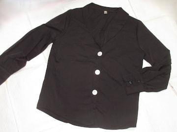Vネック*レディース長袖シャツ*モード*飾りボタン(黒)