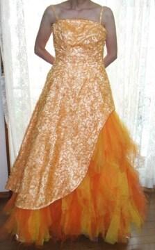 ゴージャスオレンジドレス9号ウェディングドレスカラードレス