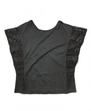 moussyマウジー袖脇レースカットソーTシャツ黒ブラック(M)新品
