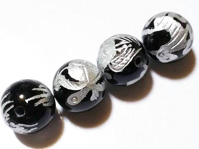 天然石★オニキス(銀彫り) 四神 14mm