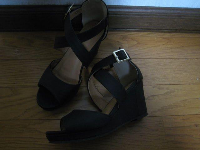 サンダル/Sサイズ/黒美品/ポーターフィーチャー < 女性ファッションの