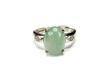 良質ひすい指輪本翡翠天然石銀925リング約13号石街U0249