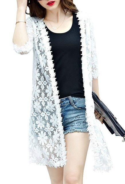 花柄レース ロングカーディガン(M寸・白)  < 女性ファッションの