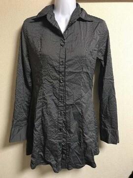★黒×グレーストライプ ロングシャツ  M★