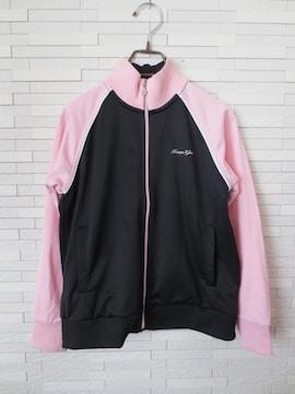 即決/Kaepa Girls/女の子ロゴラメジャージ/黒×ピンク/150