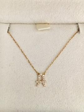 AHKAH アーカー ダイヤモンド イニシャル ネックレス K18YG