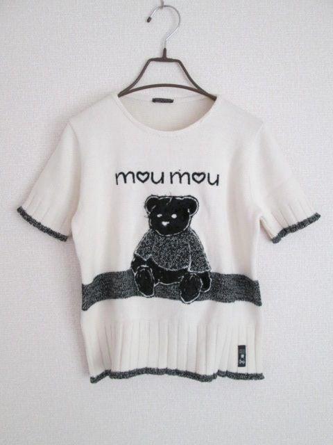 即決/MOU MOU/イタリア製くまベア半袖ウールセーター/白/M  < 女性ファッションの