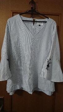 送料込ストライプシャツ 七分袖