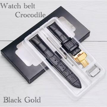 腕時計ベルト Dバックル レザー クロコダイル型押し 20mm 黒