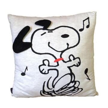 【スヌーピー】可愛いふかふわ手触りボリューム♪立体耳付きクッション