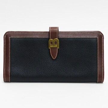 超美品BALLYバリー 二つ折り長財布 黒×茶 レザー 良品 正規品