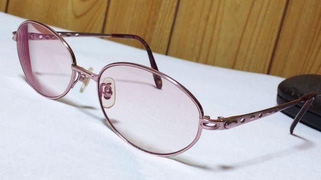 正規 セリーヌ オープンオーバルリング×ロゴメタルメガネ アンティーク ピンクゴールド 眼鏡  < ブランドの